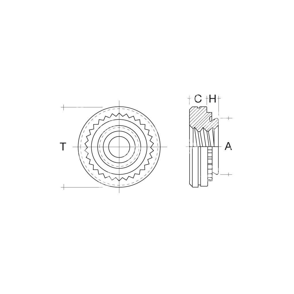 Rcls dado autoagg inox aisi303 f 5 40 s 1 4 2 3 sistemi for Scatolati in acciaio inox